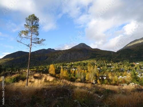 Aluminium Zwart Mountain landscape...Hemsedal Norway