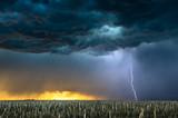 Lightning storm over field in Oklahoma - 211999864