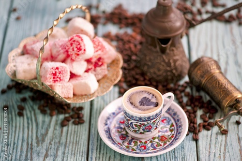 Poster Cup of coffee with turkish delight