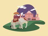 Indian elephant and Indian monument icon over yellow background, colorful design. vector illustration