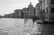 view of canal grande in venice black and white shot