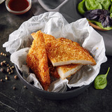 Hot Fried Crispy Chicken Fillet on Black Background with Different Sauces and Spices - 212015898