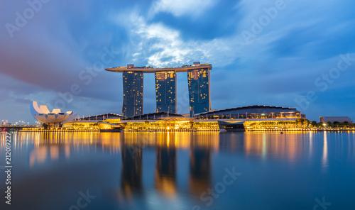 marina bay view point of cityscape landmark before sunrise