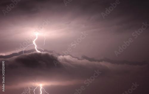 lightning during night thunderstorms - 212020895