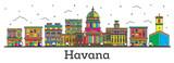Outline Havana Cuba City Skyline with Color Buildings Isolated on White.