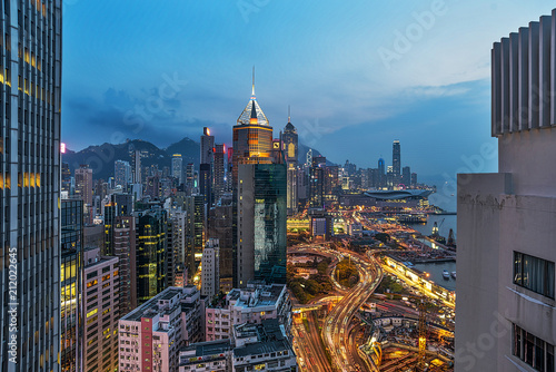Victoria Harbor at Hong Kong at sunset
