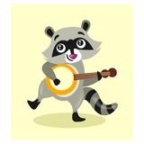 cute little raccoon playing banjo guitar mascot cartoon character