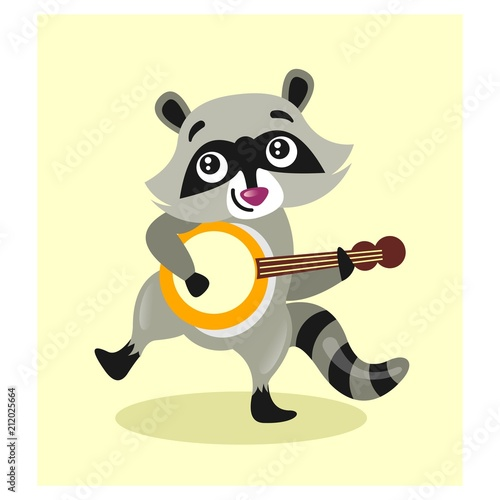 Sticker cute little raccoon playing banjo guitar mascot cartoon character