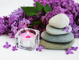 spa products and lilac flowers - 212031486