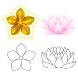 Golden metal pattern flower, pink lotus