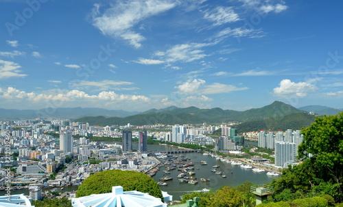 China Hainan island, city of Sanya aerial view - 212032460