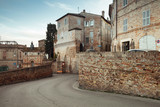 Street view of Fermo with old houses. Italy - 212041027
