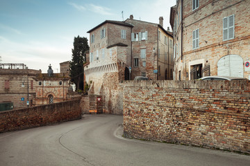 Street view of Fermo with old houses. Italy