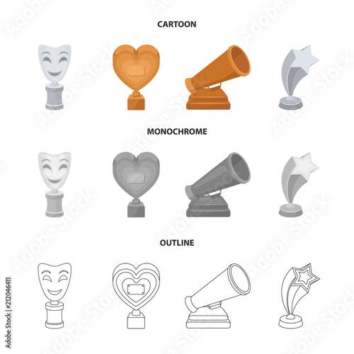 Biała maska MIM dla najlepszego dramatu, nagroda w postaci serca i innych nagród. Nagrody filmu zestaw kolekcja ikon w kreskówka, zarys, monochromatyczne styl wektor symbol ilustracji sieci.