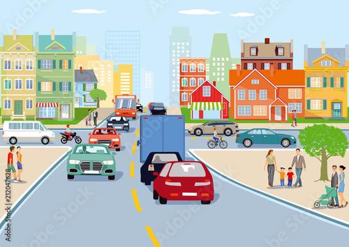 Poster Stadt mit Straßenverkehr illustration