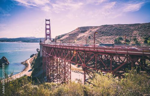 Sticker Golden gate bridge in San francisco and landscape