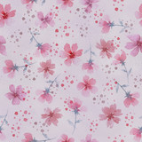 Seamless floral botanical pattern. Watercolor flowers. Delicate pastel colors. For fabric, ceramic tiles, packaging, covers, postcards, weddings. Pink flowers on a pink background. - 212057215