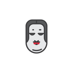 Ko omote mask filled outline icon, line vector sign, linear colorful pictogram isolated on white. Japanese Okame mask symbol, logo illustration. Pixel perfect vector graphics