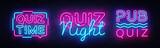 Quiz night collection announcement poster vector design template. Quiz night neon signboard, light banner. Pub quiz held in pub, bar, night club. Pub team game. Questions game retro light sign Vector - 212061485