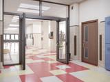 school hallway interior 3d illustration - 212063859