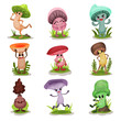 Funny mushrooms set, colorful mashroom characters with human face showing various emotions vector Illustrations on a white background
