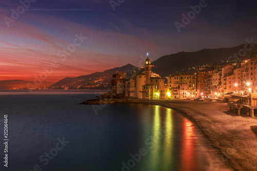 Fotobehang Aubergine Beautiful Small Mediterranean City after sunset with colorful illumination - Camogli, Italy, European travel
