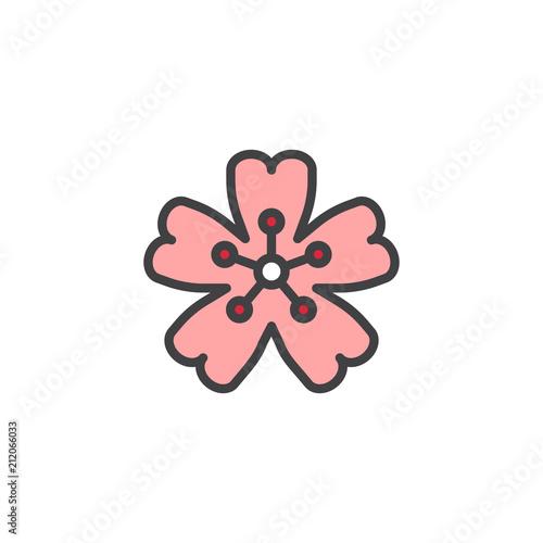 Fototapeta Cherry blossom filled outline icon