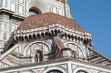 beautiful details of florence cathedral in a sunny day - 212068046