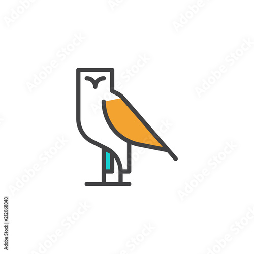 Fotobehang Uilen cartoon Owl bird filled outline icon, line vector sign, linear colorful pictogram isolated on white. Symbol, logo illustration. Pixel perfect vector graphics