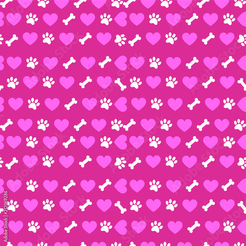 fototapeta na ścianę Seamless pattern with hearts, bones and dog paws