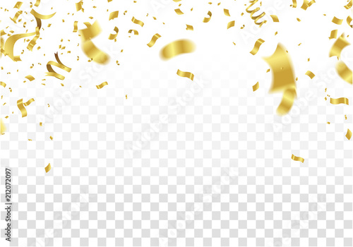 festive design. Gold Border of colorful bright confetti isolated on transparent background. Party decoration frame for birthday, anniversary, celebration. Vector illustration
