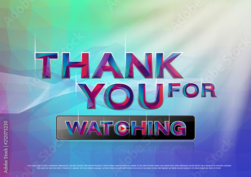 the colorful word thank you for watching vector illustration buy