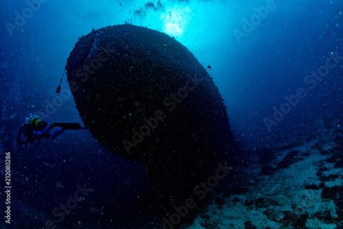 Aluminium Schipbreuk Ship Wreck in maldives indian ocean