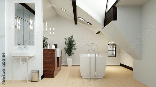 Sticker Modernes Bad im Dachgeschoss mit Dachschräge