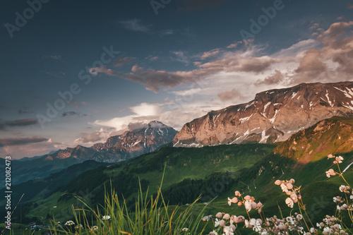 Fototapeta Sunrise in Adelboden Switzerland Mountains