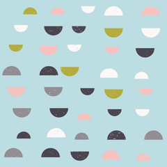 Modern vector abstract seamless geometric pattern with  semicircles in retro scandinavian style. Worn out textured shapes in fun soft pastel colors combinations. © dinadankersdesign