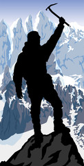 vector alpinist mountaineer with ice axe on the top of mountain © Save Jungle