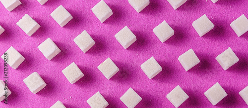 Food pattern with white sugar on purple color baclground. - 212098239