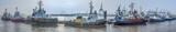 Schlepper in einer Reihe am Anleger im Hamburger Hafen - 212102870