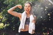 Leinwanddruck Bild - Portrait of a pretty young fitness girl standing outdoors