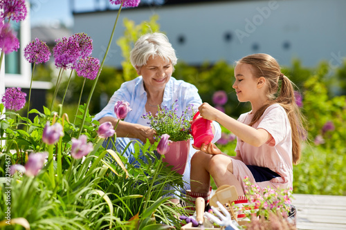 Poster gardening, family and people concept - happy grandmother and granddaughter planting flowers at summer garden