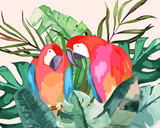 Summer frame with tropical jungle leaves and parrot.Vector aloha illustration. Watercolor style - 212104899