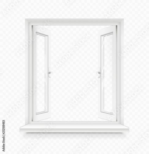White classic plastic open window with windowsill. Transparent - 212108483