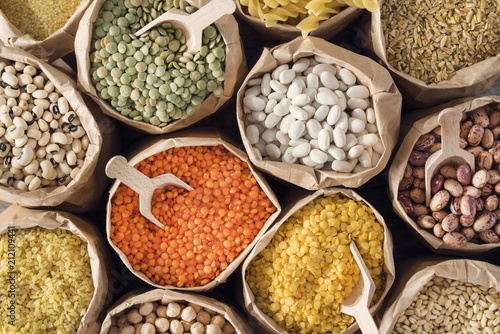 Various dried legumes high angle view - 212109441