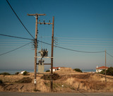 Typical electric pole in Peloponnese, Greece. - 212109615