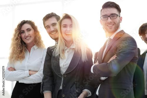 Leinwanddruck Bild closeup.friendly business team.