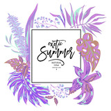 Vector summer tropical leaves, exotic greeting card - 212113481