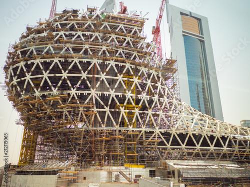 Construction process of skyscraper buildings in Dubai, UAE