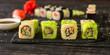 sushi rolls and sushi maki (a portion of sushi) - Sushi menu. Japanese food. food background