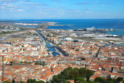 View from the mount St Clair, in Sète city, south of France - 212123223